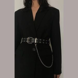 Leather Chained Grommet Belt